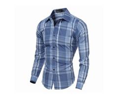 Mens Checks Pattern Slim Fit Turndown Collar Long Sleeved Dress Shirts