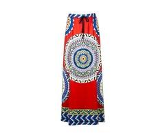 Ethnic Style Bohemian Women High Waist Geometric Printed Maxi Skirt