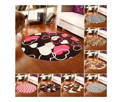 80x80cm Coral Velvet Bathroom Absorbent Carpet Anti Slip Door Sill Round Mat Rug