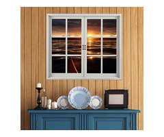 Sunset 3D Artificial Window View PAG Wall Decals Lake View Room Stickers Home Wall Decor Gift