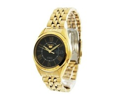 Seiko Men's Gold Tone Stainless-Steel Automatic Watch with Black