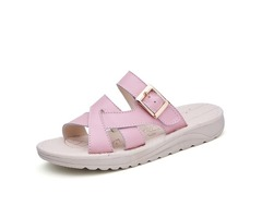 Bandage Buckle Slip On Wedge Sandals Soft Leather Slip On Beach Slipper Sandals