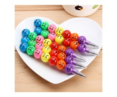5pcs Smile Face Pencils For Children Round Ball Shape Cute Pencil Study Stationary