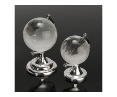Crystal Glass Frosted World Globe Paperweight Desk Decoration
