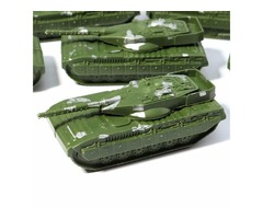 5PCS Military Tanks Rotating Turret Plastic Toy Soldier Army Men Accessories