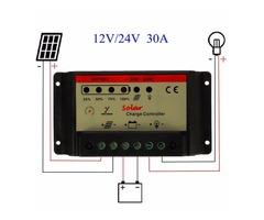 12V/24V 30A PWM Solar Charger Controller Battery Charging Regulator