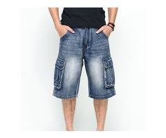 Summer Mens Big Pockets Jeans Loose Street Skateboard Denims Shorts