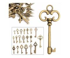 20pcs DIY Vintage Antique Old Look Bronze Skeleton Keys Fancy Heart Bow Pendant