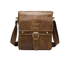 Retro Matte Genuine Leather Crossbody Bag Leisure Business Shoulder Bag