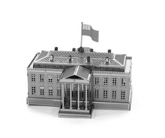 Aipin DIY 3D Puzzle Stainless Steel Model Kit White House Silver Color