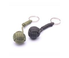 B039 Security Protection Monkey Fist Steel Ball Bearing Self Defense Lanyard Survival Key Chain Blac