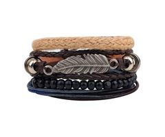 Vintage Multilayer Wood Beads Woven Leather Bracelet Leaf Pendant Unisex Bangle Chain