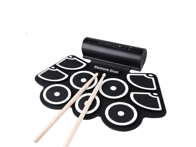 KONIX MD760 Silicon Electronic 9 Pad Roll Up Drum Support MIDI Game | FreeAds.info