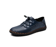 Men Soft Leather Breathable Oxfords Lace Up Outdoor Athletic Shoes
