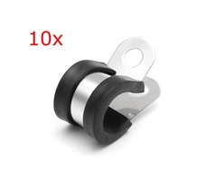 10Pcs 13mm Stainless Steel & Rubber Lined Retaining Hose P Clips Clamp