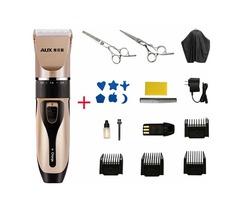AUX A5 15pcs Rechargeable Hair Trimmer ThinningFlatcutScissor Stylish Template Kit