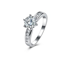 INALIS Zircon Platinum Plated Engagement Gift Wedding Finger Rings