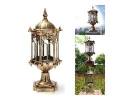 220V E27 Exterior Antique Brass Post Fence Lantern Light Landscape Garden Lamp