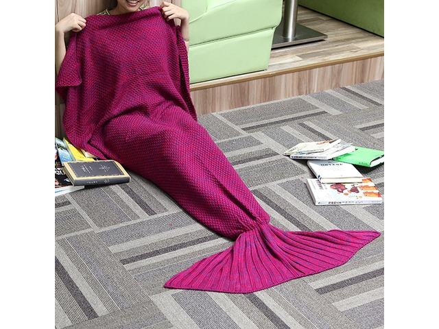 180x90CM Yarn Knitting Mermaid Tail Blanket Cashmese-like Warm Super Soft Sleep Bag Bed Mat | FreeAds.info