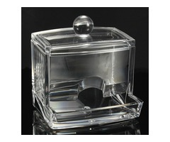 Transparent Acrylic Crystal Cotton Swab Storage Box with Ball Tip Lid