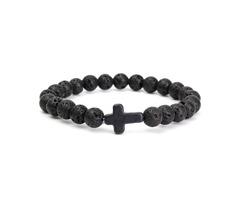 Cross Lava Rock Stone Beads Elastic Men Bracelet