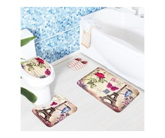 3 Sets Toilet Seat European Style Toilet Carpet Fabric Pedestal Iron Tower Printing Bathroom Mat