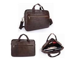 Men Briefcases Handbag Document Business Office Laptop Bag Leather Male Work Bag Brown
