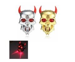 Skull Style E-bike Bicycle Cycling Laser Rear Tail Light 2 LED Eye 7 Modes