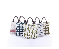 Woman Hand-held Lunch Tote Bag Travel Picnic Cooler Insulated Handbag Waterproof Storage Containers