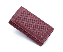 Women Hasp Long Woven Wallet Girls Two Fold Purse Card Holder Coin Bags