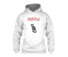 Funny Meow Cat White Tee shirt For Women's