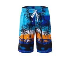 Mens Coconut Tree Printing Board Shorts Swimming Beach Casual Polyester Shorts