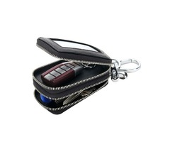 Multifunction Knitting Double Zipper Men Genuine Leather Car Key Holder