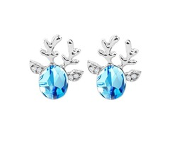 Crystal Deer Ear Stud Sweet Casual Party Earrings
