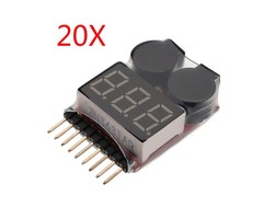 20 x 2 in 1 Lipo Battery Low Voltage Tester 1S-8S Buzzer Alarm