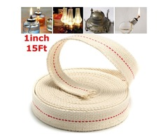 1 Inch Flat 15 Foot Cotton Wick For Oil Lamps and Lanterns 4.5M Length