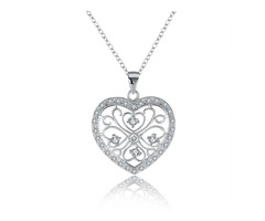 YUEYIN Vintage Heart-shaped Zircon Silver Necklace