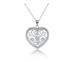 YUEYIN Vintage Heart-shaped Zircon Silver Necklace