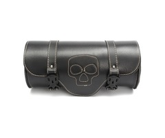 Motorcycle Side Saddle Bag PU Leather Saddle Tool Bag Black For Harley