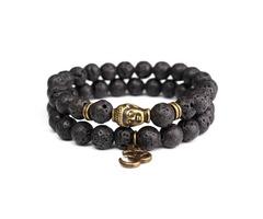 8mm Lava Stone Buddha Lucky Beads Elastic Bracelet Bangle Chain