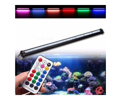 55CM RGB SMD5050 Rigid LED Strip Light Air Bubble Aquarium Fish Tank Lamp + Remote Control AC220V