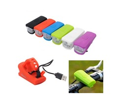 Bike Bicycle USB Light Front Led Light Lamp Rechargeable Silica Gel Safety Light For Cycling Riding
