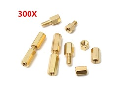 Suleve™ M3BH1 M3 Male-Female Brass Hex Column Standoff Support Spacer Pillar For PCB Board 300pcs