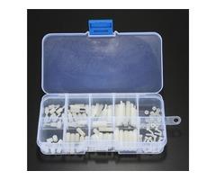 120Pcs White M2 Nylon Hex Spacers Screw Nut Assortment Kit