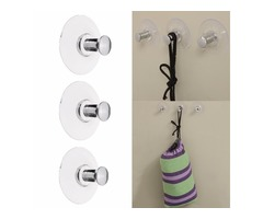 3pcs Suction Cup Sucker Hooks Hanging Towel Hanger Bathroom Kitchen