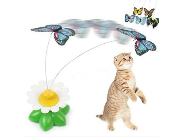 Funny Pet Cat Kitten Toys Electric Rotating Butterfly Rod Pet Cat Teaser Play Toy | FreeAds.info