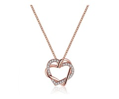 JASSY® Elegant Double Heart Crystal Rhinestone Pendant Necklace Anallergic Women Accessories