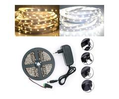 5M SMD 2835 300 LED White/Warm White LED Strip Flexible Light + Power Supply + Connector DC 12V
