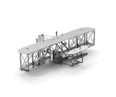 Aipin DIY 3D Puzzle Stainless Steel Model Kit Mini Biplane Silver Color