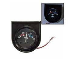 Universal Car Black Pointer AMPS Meter Ammeter 60-0-60A White LED Light 2'' 52mm